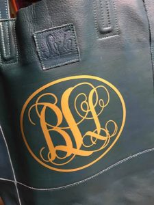 Monogrammed leather tote bags