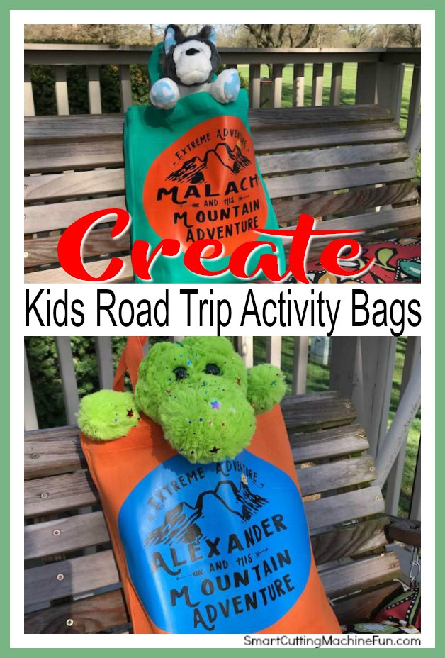 Create fun Kids Road Trip Activity Bags with your Cricut. Personalize them today!