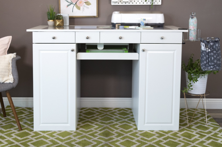 EZ View Craft Desk w/Storage for Small Spaces | Craft Room Storage Cabinets | ScrapBox Storage Cabinet
