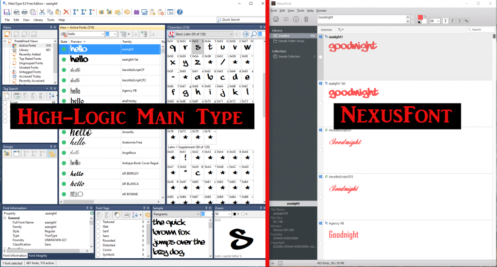 how to use nexus font manager